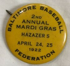 "1922 Baltimore Baseball Federation Hazazer's Mardi Gras  Pin 1 1/4"" Diameter"