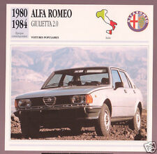 1980-1984 Alfa Romeo Giulietta 2.0 Car Photo Spec French Card 1981 1982 1983