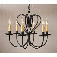 Large Georgetown Country Farmhouse 6-arm Metal Chandelier in Black