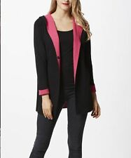 NWT Womens XL Wool Hoodie Cardigan Sweater Coat Jacket Black/Pink Simply Couture