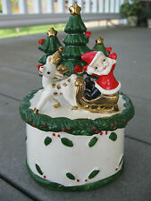 Vintage UCAGCO Santa and Reindeer Covered Christmas Candy Dish JAPAN B232