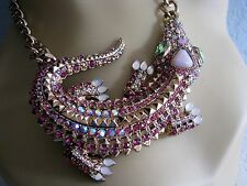 BETSEY JOHNSON REPTILES PINK CRYSTAL ALLIGATOR PENDANT STATEMENT NECKLACE~NWT