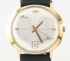 Fortis Men's Gold Plated Automatic Skylark Watch w/ Date & Black Leather Band