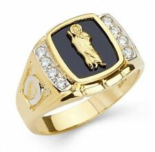 Men's 14k Solid Yellow Gold Big Bold St. Jude Ring with Onyx & Man-made diamonds