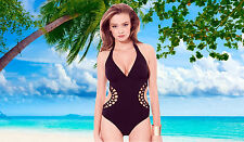 NWT PROFILE BY GOTTEX Black Halter V-NECK MONOKINI  BATHING SUIT SWIMSUIT SZ - 8