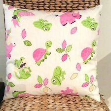 Girls Nursery Pink and Lime Green With Baby Animals Cushion Cover 40cm x 40cm