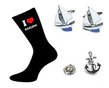 Sailing Gift Set. Sailors Yacht Sport Cufflinks + Mens Socks + Lapel Pin Badge