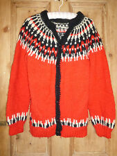Mens' / unisex Scandi Nordic Fairisle handknitted red/white/black cardigan 44""