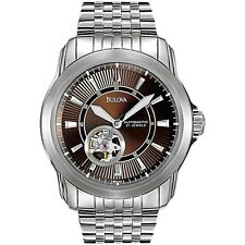 BULOVA AUTOMATIC 21 JEWELS BROWN DIAL STAINLESS STEEL MEN'S WATCH 96A101 NEW