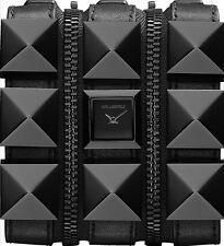KARL LAGERFELD KL2001 TRIPLE BLACK LEATHER STRAP CUFF ZIPPERED WATCH