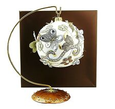 JAY STRONGWATER ARTISAN BUTTERFLY BALL GLASS ORNAMENT GOLDEN PEARL W/ STAND NEW