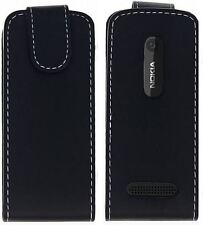 Slick Accessories - Black Faux Leather Flip Cover / Case for Nokia 206
