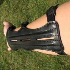 Magideal Cow Leather Shooting Archery Arm Guard Bow Protect 3 Straps Black HR