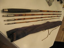 Vintage Antique 12' LONG Fly/Casting/Boat 4pc BAMBOO Rod Pole w/soft case