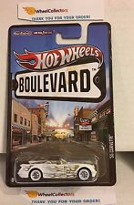 '55 Corvette * WHITE w/ Gold Flames * Boulevard Hot Wheels w/ Real Riders * H55