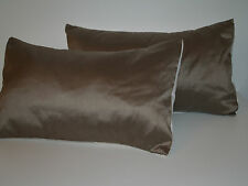 LAURA ASHLEY DUPION SILK TRUFFLE PAIR OF BOLSTER STYLE CUSHION COVERS *FREE P&P*
