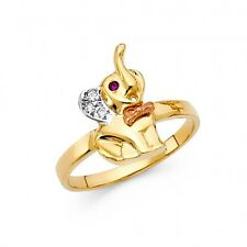 EJLRRG1705 - Solid 14K tricolor gold elephant ring