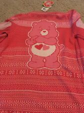Iron Fist Care Bears Love A Lot Pink Soft Drape Sweater Cardigan NWT Womens S
