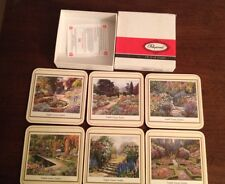"PIMPERNEL MADE IN ENLGAND  COASTERS ""English Country Garden"" - SET OF 6 IN BOX"
