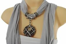 Women L. Gray Soft Fabric Fashion Scarf Long Necklace Silver Hole Glass Pendant