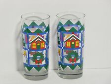 Set of 2 Christmas Themed Patchwork Quilt Tumbler Highball Drinking Glasses EUC