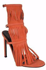NEW Gucci 347284 Women's Orange Suede Fringed Becky Gladiator Shoes 38.5 8.5