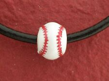 Softball Necklace on Leather Show you love Baseball and soft ball