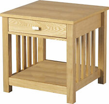 ASHMORE 1 DRAWER SIDE / LAMP TABLE IN ASH VENEER - FREE NEXT DAY DELIVERY