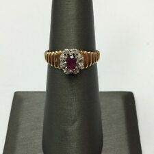 10K REAL YELLOW Real Ruby &  6 Small Diamond Claster Ring  SZ6  & 2.5gr