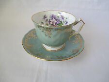 Aynsley Tea Cup & Saucer Sage Green Crocus Pattern Gold Trim Purple Violets