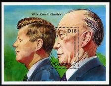 Gambia 1343 S/S, MNH. Konrad Adenauer, 25th anniv. of death. J.F.Kennedy, 1993