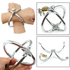 Stainless Steel Cross Handcuffs With Lock Restraint Shackle BDSM Slave Game Toys