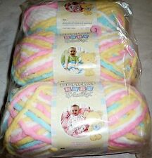 Bernat Baby Blanket Yarn Lot of 3 - PITTER PATTER (Blue, Pink, Yellow & White)