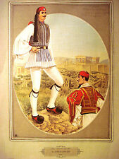 Poster of Greek Traditional Folkloric Costumes, Evzone & Officer