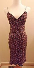 Moda International Size 6 Slip Dress Silk Chiffon Floral Print Spaghetti Strap
