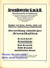 Arsenikwerke Reichenstein XL Reklame 1923 Zloty Stok Hütte Bergbau Oberkauffung