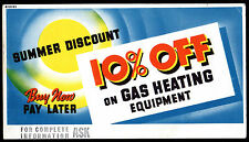 Vintage Ink Blotter GAS HEATING EQUIPMENT 10% Off Summer Discount ADVERTISING