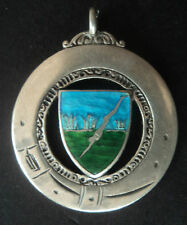 Vintage Silver Enamel Swimming / Diving Fob Medal - not engraved -1928 W. Manton