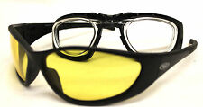 Reactive Photochromatic Motorcycle Yellow Sunglasses & case 4 Prescription Lens