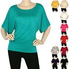 IRON PUPPY Women's Dolman Casual Boat Neck Half Wide Slv Loose Fit Top T-Shirts
