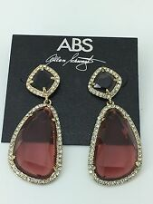 ABS by Allen Schwartz Gold Tone Dark Coral Double Drop Pave Crystal Earrings