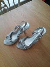 Next Womens Silver Satin Fabric Stiletto Party Shoes Size 5 Wede Fit