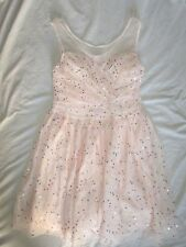 $79 size 9 nine Love Nickie Lew pink sequin women dress lace halter party pagean