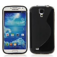 Samsung Galaxy S4 Silikon Case Schutz Hülle Bumper S-Line Schwarz + Folie