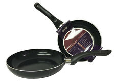 "3 Non Stick Ceramic Coated Fry Pan Set Eco Healthy Cookware 7.8"" 9.5"" 11"""