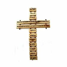 "Olive Wood Lord's Prayer Cross 9"" Made in Jerusalem"
