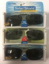 3 SOLAR SHIELD Clip-on Polarized Sunglasses Size 56 rec 19 Black lens frameless