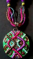 Moroccan BOHO Necklace Turquoise Stones Colorful Bead Medallion Pendant Gypsy