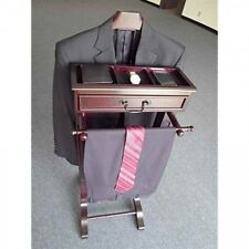 Mens Wardrobe Valet Butler Coat Rack Suit Stand Mahogany Clothes Hanger Pant Bar