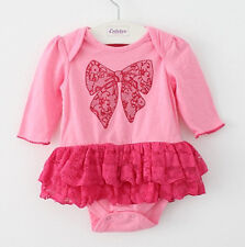 Newborn Infant Baby Girl Tiered Lace Dress Romper Bodysuit Playsuit Clothes 6-9M